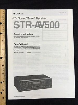 Sony STR-AV500 Stereo Receiver Original Owners Manual 26 Pages strav500