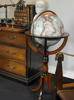 """Antiqued Classic French Style Library Globe 38"""" Replica With Floor Stand"""