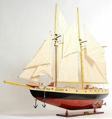 "Bluenose II Schooner Sailboat 47"" Built Handmade Wooden Model Boat Assembled"