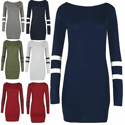 Ladies Womens Varsity Baseball Stretchy Long Sleeves Stripes Jersey Bodycon Top