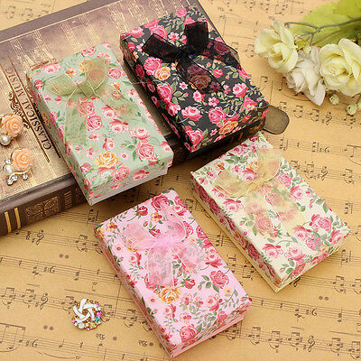 10/5Pcs Present Gift Box Jewellery Necklace Earrings Ring Cases Bowknot Displays