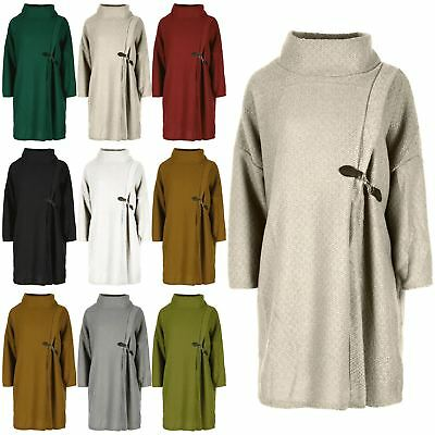 Ladies Womens Oversized Knitwear Wrap Over 3/4 Sleeves Cowl Neck Knitted Jumper