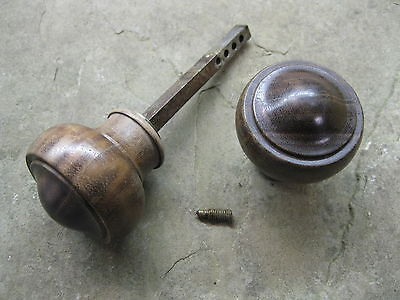 Pair of Original Reclaimed  Hardwood Door Knobs 0188