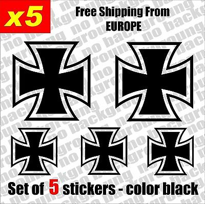Set of 5 - Iron Cross Vinyl Decal Sticker Aufkleber Die-Cut Car Laptop Game