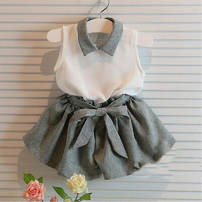 Girls Unique Grey Party Shorts & Top Outfit Set 2-3,3-4,4-5,5-6, 6-7, 7-8 Years