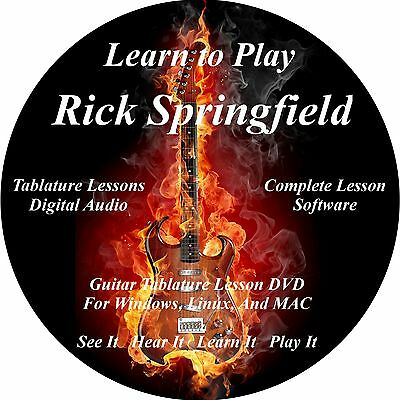 Rick Springfield Guitar TABS Lesson CD 14 Songs + Backing Tracks + BONUS!