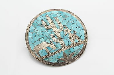 Handmade Mexican Sterling and Turquoise Brooch/Pendant with Man and Donkey