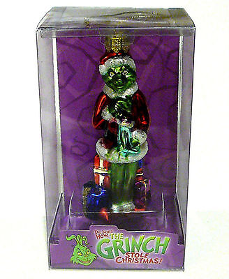 """* Grinch With Stocking * Dr Seuss Blown Glass New Ornament 5"""""""
