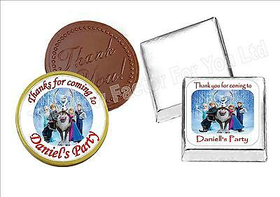 24 Personalised Square Round Chocolate Coin Sticker Label Kids Party Bag Favour