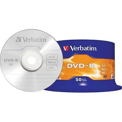 10 50 DVD -R VERBATIM vergini vuoti 16X Advanced Azo  120 min 4.7 GB ORIGINALI