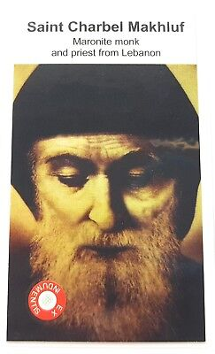 Saint Charbel Makhluf relic card, patron of Maronite monk and priest from Lebano