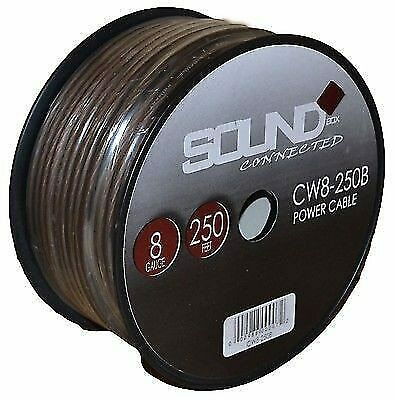 8 Gauge Wire Black Amplifier Power/Ground 8 Ga Amp Wire 250 Feet Cable Roll