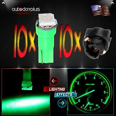 10x T5 1SMD Green Instrument Panel Cluster Dash Led Bulb+Twist Socket for Ford