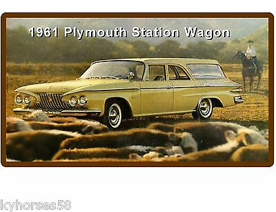 1961 Plymouth Station Wagon Auto Car Refrigerator / Tool Box Magnet