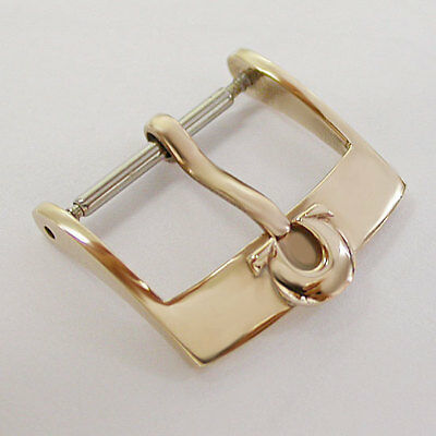 New ! 18K Swiss 16Mm  Omega  Pink Gold  Watch Leather Strap Buckle