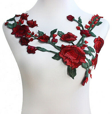 Lace Neckline Applique Collars Flower Patch Embroidery Applique Sew on Patches