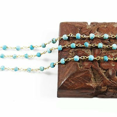 Turquoise Rosary Beaded Chain Gold Plated Wire Wrapped Chain By 1 Foot