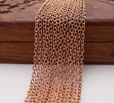 Jewelry Crafting Brass Rose Gold Plated Chain Link 10 Foot Supply Making