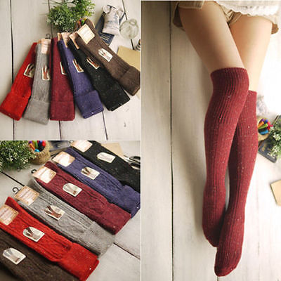 Fashion Warm Women's Turn Up Rib Dot Wool Blend Long Knee High Winter Boot Socks