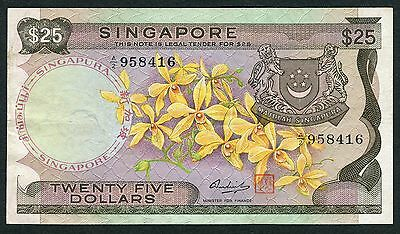 1972 (ND) Bank of Singapore $25 Orchid Banknote XF P-4