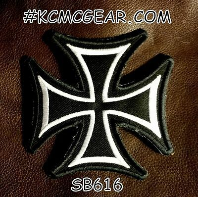 MALTESE CROSS White on Black Small Badge for Biker Vest Jacket Motorcycle Patch