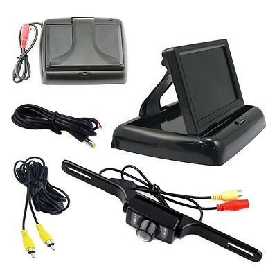 """4.3"""" TFT LCD Folding Monitor W/ Cable Reverse Car Rear View System Backup Camera"""