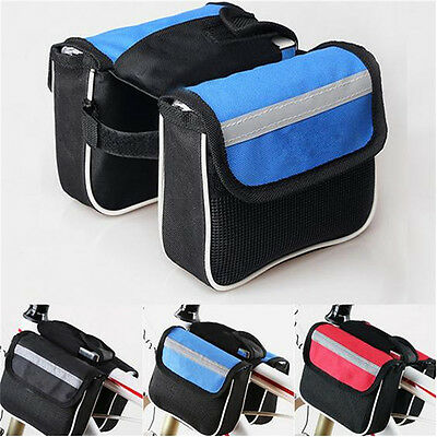 MTB Bicycle Bike Cycling Frame Front Pannier Saddle Tube Bag Double Holder Pouch