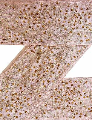 Vintage Sari Border Antique Embroidered Indian Trim 1YD Ribbon Peach Used Lace