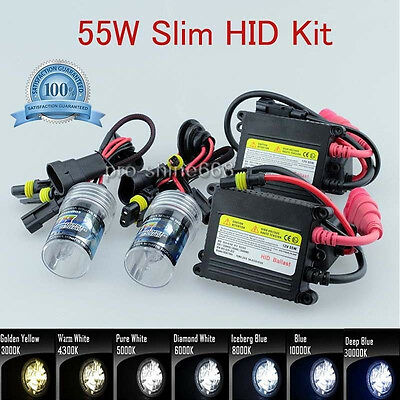 H7 8000K Diamond Blue Bulbs Conversion HID Slim Ballast Kit Fit Fog Light G924