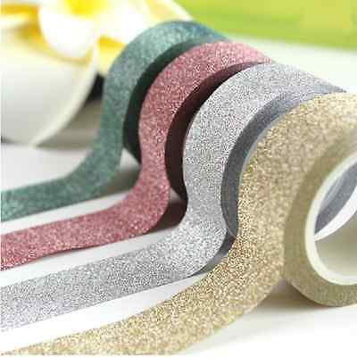 5M Glitter Washi Sticky Paper Masking Adhesive Tape Label DIY Craft Decorative u