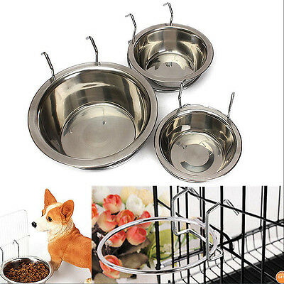 Useful Stainless Steel Hook On Feeding Bowl Pet Bird Cat Dog Food Water Cage Cup