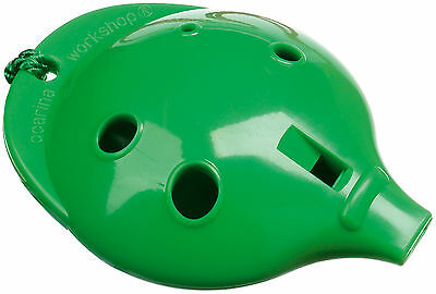 Plastic OCARINA Green 4-hole & How-to-Play card; Easy to play Musical Instrument