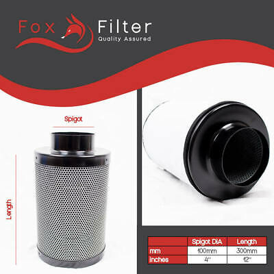 "FOX HYDROPONICS 4"" 100mm CARBON FILTER FOR EXTRACTOR FAN GROW KIT ROOMS TENTS"