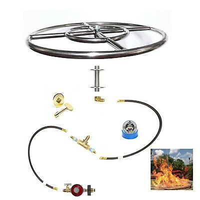 "Fr18Itck+: 18""  In-Table Diy Propane Fire Pit Wine Barrel / Fire Table Kits"