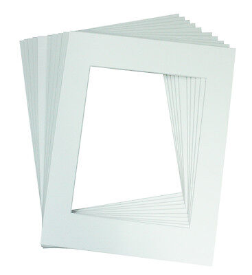 Set of 25 11x14 WHITE Picture Mats with White Core Bevel Cut for 8x10 Photos