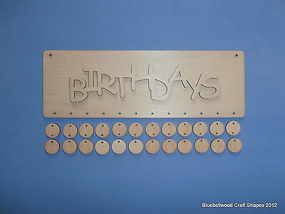 Plain Blank Wooden Unpainted Birthday Reminder Sign Plaque +Mini Shapes &word