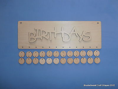 Plain Blank Wooden Unpainted Birthday Reminder Sign With Mini Shapes & Word