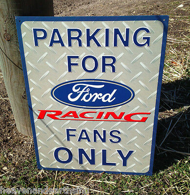 FORD RACING Tin Metal Sign Wall Bar Garage Shop Classic Made in USA