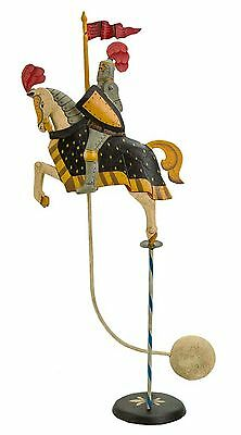 """Antiqued Medieval Knight Sky Hook 14.2""""Titter Totter Tin Metal Balance Toy"""