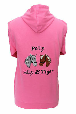 Personalised Embroidered Horse pony hoodie 2 heads change the horse colours