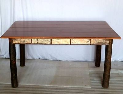 Adirondack  Style  Hickory  And  Birch  Table   With  Pine  Top