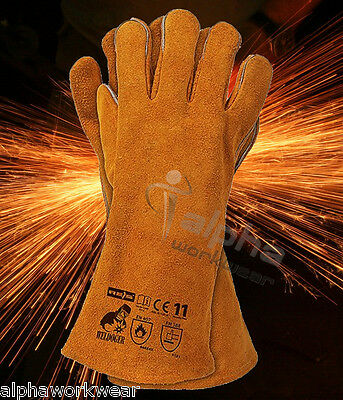 New Welding Leather Gloves Welders Gloves With Kevlar Heat Resistant Stitches.
