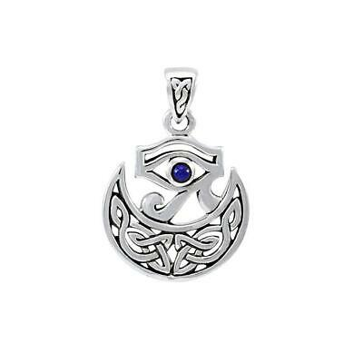 Eye of Horus Celtic Knot Crescent Moon .925 Sterling Silver Pendant Peter Stone