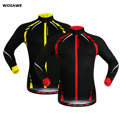 Mens Winter Cycling Jacket Wind Fleece Thermal Soft Shell Windproof Long Sleeve