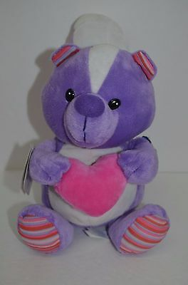 Applause Skunk Plush Purple Pink Stripes Heart Valentines New Stuffed Animal