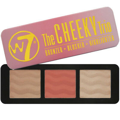 W7 Cosmetics Bronzer Rougir Highlighter Palette Form Contour Kit The Cheeky Trio