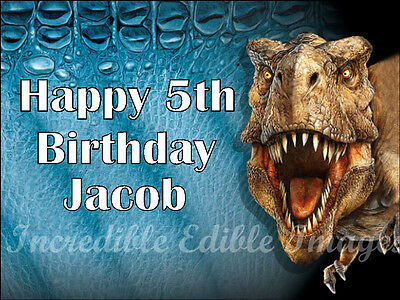 Dinosaur Jurassic World Personalised Edible Cake Toppers Party Decoration