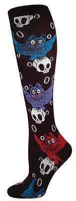 Halloween Owl & Skull Women's Knee High Sock Size 6 - 10 Blk/Red