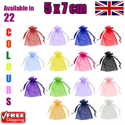 5 x 7 cm Organza Gift Pouch Wedding Favour Bags Jewellery Pouch in 23 Colours!