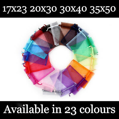 Large Organza Gift Pouch Wedding Favour Bag Jewellery Pouch 23 Colours & 3 Sizes
